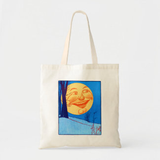 Vintager Mann im Mond W.W. Denslow Illustration Budget Stoffbeutel