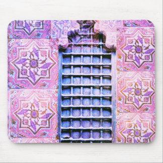 Vintager Marokko-Fenster-Rosa Oranate Boho Chic Mauspad