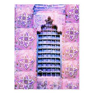 Vintager Marokko-Fenster-Rosa Oranate Boho Chic Postkarte