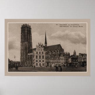 Vintager Mechelen Malines Grote Markt großartiger Poster