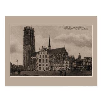 Vintager Mechelen Malines Grote Markt großartiger Postkarte