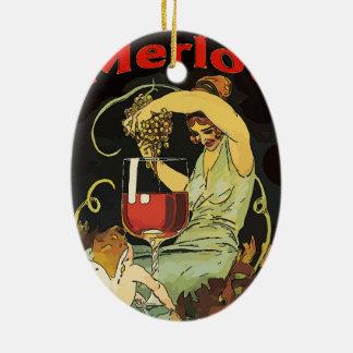 Vintager Merlot-Wein Keramik Ornament