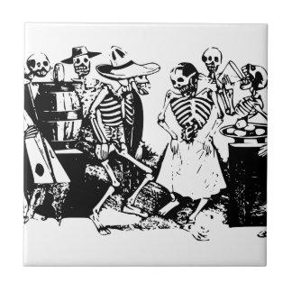 Vintager mexikanischer Skeleton Tanz Posada Fliese