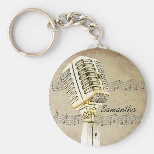 Vintager Mikrofon-Entwurf Keychain Schlüsselanhänger