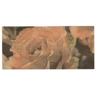 Vintager mit Blumenhintergrund der Kunst mit Holz USB Stick