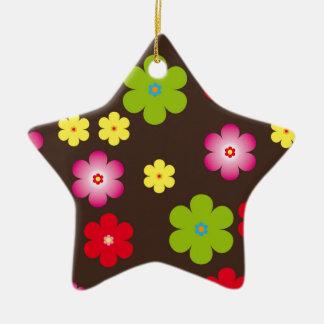 Vintager mit Blumenhintergrund Keramik Stern-Ornament