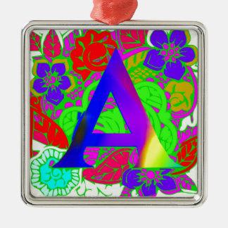 Vintager mit Monogramm Logomit blumenentwurf Silbernes Ornament