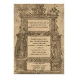 Vintager mittelalterlicher Holzschnitt-gotische 12,7 X 17,8 Cm Einladungskarte