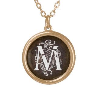 Vintager Monogramm-Initialen-Anhänger des Halskette Mit Rundem Anhänger