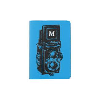 Vintager Monogrammpaß der Illustrations-Kamera-1 Passhülle
