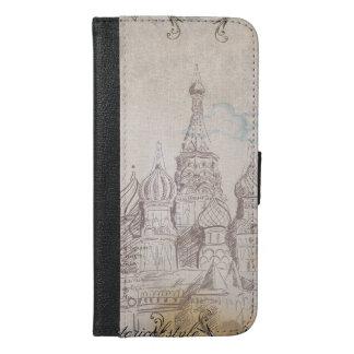 Vintager Moskau-Porto-Entwurf iPhone 6/6s Plus Geldbeutel Hülle