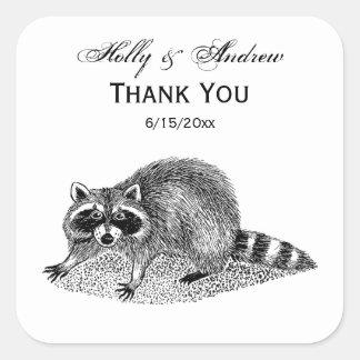 Vintager MSked Raccoon Quadratischer Aufkleber