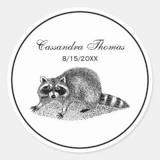 Vintager MSked Raccoon Runder Aufkleber