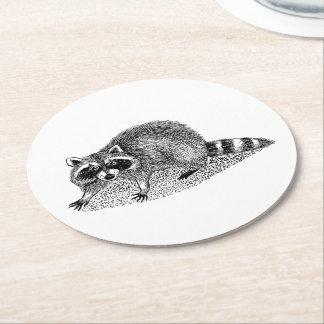 Vintager MSked Raccoon Runder Pappuntersetzer