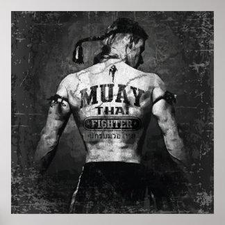 Vintager Muay thailändischer Kämpfer Plakatdruck