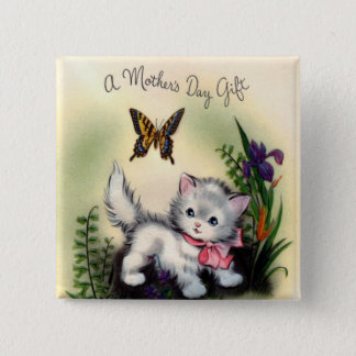 Vintager Mutter-Tagesquadrat-Knopf Quadratischer Button 5,1 Cm