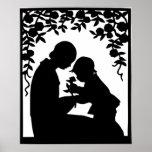 Vintager Mutter-und KinderSilhouette-Druck Plakatdrucke