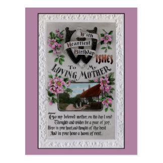 Vintager Muttergeburtstag, Hufeisen, Gedicht Postkarte