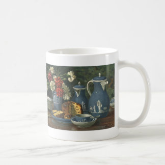 Vintager Nachmittags-Kaffee, Kuchen, Tee und Kaffeetasse
