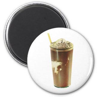 Vintager Nachtisch; Schokoladen-Erschütterung Runder Magnet 5,1 Cm