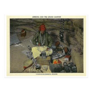 Vintager Navajo-Silberschmied Postkarte