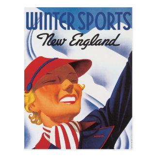 Vintager Neu-England Winter-Sport Postkarte