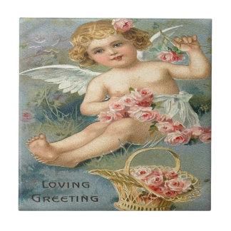 Vintager, niedlicher Engel u. rosa Rosen Kleine Quadratische Fliese