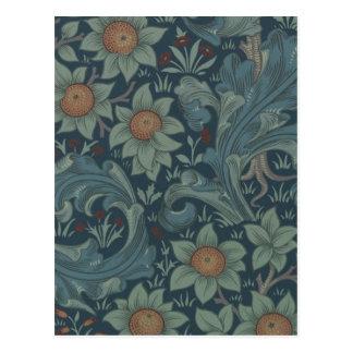 Vintager Obstgarten-Blumenentwurf Williams Morris Postkarte