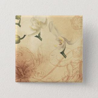 Vintager Orchideen-Hintergrund Quadratischer Button 5,1 Cm