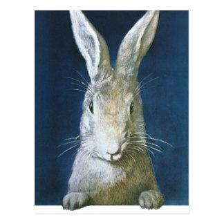 Vintager Osterhase, niedliches pelzartiges weißes Postkarte