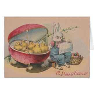 Vintager Osterhase und ausgebrütete Karte
