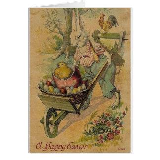 Vintager Osterhase und Ei-Wagen-Ostern-Karte Grußkarte