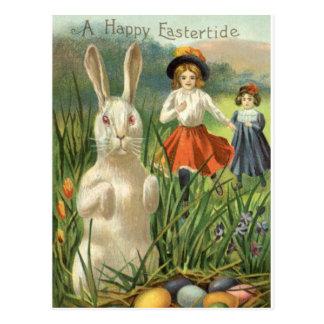Vintager Osterhase und Eier; Glückliches Postkarten