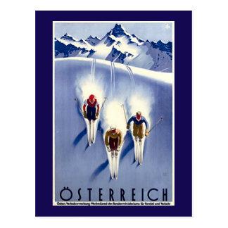 Vintager Österreich Ski Postkarte