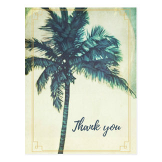 Vintager Palme-Strand danken Ihnen Postkarte