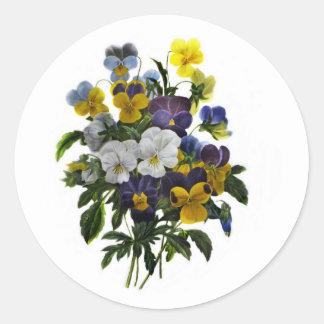 Vintager Pansy-botanischer Druck Runder Aufkleber