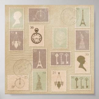 Vintager Paris-Briefmarken-Druck Poster