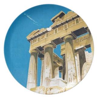 Vintager Parthenon-Tempel Reise-Athens Melaminteller