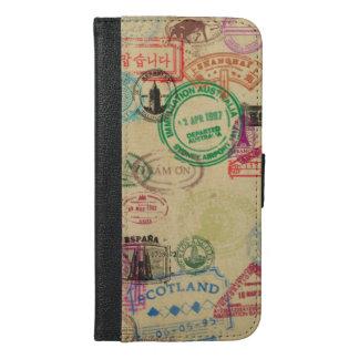Vintager Pass-Briefmarken iPhone Geldbörsen-Kasten iPhone 6/6s Plus Geldbeutel Hülle