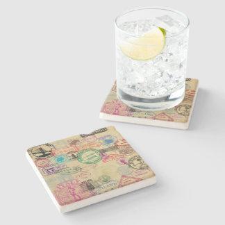 Vintager Passort Briefmarken-Kalkstein-Untersetzer Steinuntersetzer