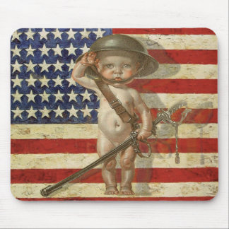 Vintager Patriot Mousepad mit Baby-Held auf Flagge