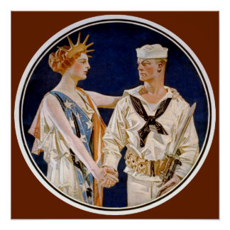 Vintager Patriotismus, Dame Liberty mit Poster