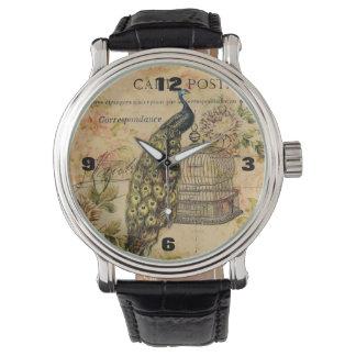 Vintager Pfau des französischen botanischen Armbanduhr