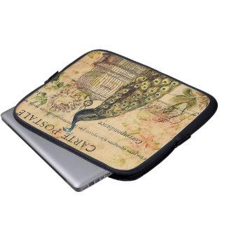 Vintager Pfau des französischen botanischen Laptop Sleeve