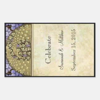 Vintager Pfau-Hochzeits-Wein-Aufkleber Rechteckiger Aufkleber