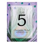 Vintager Pfau Jewels lila Wedding Tischnummer Postkarte