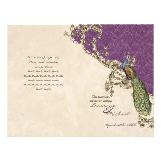 Vintager Pfau u. Radierungen, die Programm Wedding Bedruckte Flyer