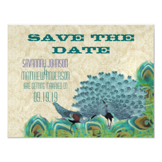 Vintager Pfau versieht Save the Date mit Federn Karte
