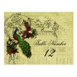 Vintager Pfau-Wedding Tischnummer-Postkarte