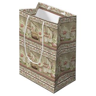 Vintager Pfirsich-Tee u. Rosen-Geschenk-Tasche Mittlere Geschenktüte